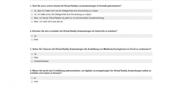 Umfrage: Virtual Reality im Unterricht